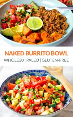 Healthy Naked Burrito Bowl (Paleo, Gluten-Free) via Paleo Dinner, Healthy Dinner Recipes, Paleo Recipes, Real Food Recipes, Yummy Food, Easy Family Meals, Family Recipes, Easy Meals, Salsa Salad