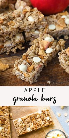 These apple granola bars are the perfect fall snack with dried apple chunks, white chocolate chips and cinnamon. They're both chewy and crispy at the same time and so delicious. #apple #granolabars #whitechocolate #eatingbirdfood #healthy #snack