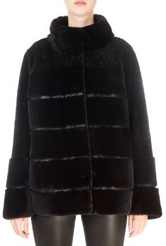 Black Short Panelled Reversible Sheepskin Coat
