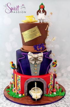 Willy Wonka / Charlie and the Chocolate Factory themed wedding cake!  www.asweetpassion.com