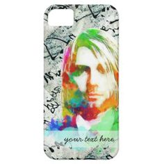 Colorful Kurt Donald Cobain with Chinese Caligraph