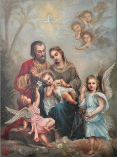 O sono do Menino Jesus. Pintura feita por Celina, irmã de Santa Teresinha do Menino Jesus. Na pintura, Teresinha é retratada como um anjo de vestes azuis. São José tem o rosto do pai Luis Martín.
