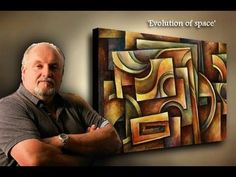 painting Demo. creating depth with shading and color, Basic geometric design, ABSTRACT ART - YouTube