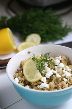 Lemon Quinoa Salad with Greens, Dill and Feta