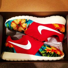 Custom Roshe Run Red Floral by SneakerFlex on Etsy, $170.00