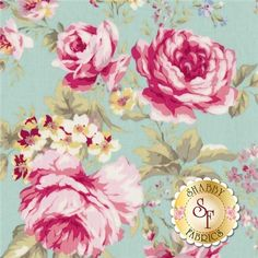 Rococo & Sweet is a collection by Lecien Fabrics. This fabric features a large floral bouquet on a blue background.