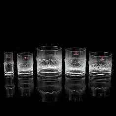 "TAPIO WIRKKALA - Glassware, ""Niva"" series by Iittala, Finland. Glass Design, Design Art, Art Of Glass, Alvar Aalto, Finland, Tumblers, Shot Glass, Glasses, Kitchen"