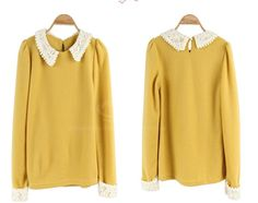 Preppy Style Polo Neck Lace Hem Slimming Puff Sleeve Solid Color Blouse For Women (YELLOW,ONE SIZE) China Wholesale - Sammydress.com