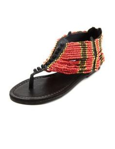 Charlotte Russe - Beaded Cuff T-Strap Sandal