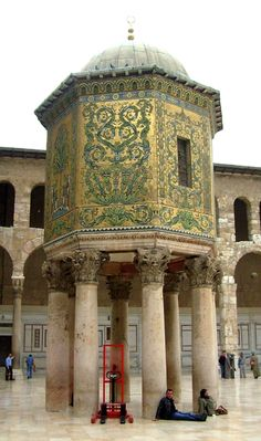 The Great Mosque of Damascus is the first monumental work of architecture in Islamic history; the building served as a central gathering point after Mecca to consolidate the Muslims in their faith and conquest to rule the surrounding territories under the Umayyad Caliphate.  The Umayyad mosque's religious significance was reinforced by its renowned medieval manuscripts and ranking as one of the wonders of the world due to is beauty and scale of construction.