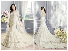 Long Sleeves Bateau Neckline Lace Embellished Mermaid Wedding Dress with Deep V-back