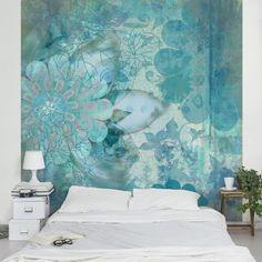 - Wall Mural square Source by bilderwelten 3d Wallpaper For Walls, Photo Wallpaper, Wallpaper Roll, Foto 3d, Bedroom Decor, Wall Decor, Winter Flowers, Creative Walls, Blue Wallpapers