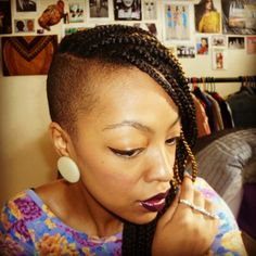 Natural hair, shaved side (someday!), poetic justice braids