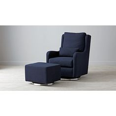 Shop Milo Navy Blue Glider Chair.  Our modern Navy Blue Glider is the perfect addition to any nursery, offering a cozy place to nurse and rock baby to sleep.  Oeko-Tex® Certified Fabric.
