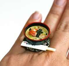 Kawaii Japanese Miniature Food Ring Miso by fingerfooddelight, $10.00