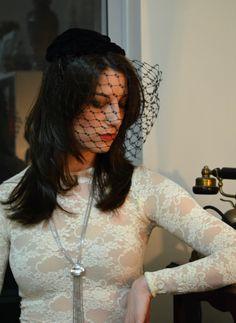 Tanith Rowan: Black velvet fifties hat with honeycomb veil