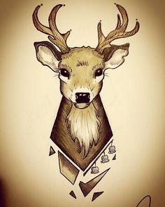 Ma new tattoo. What u guys think? #tattoo #deertattoo #sketch #drawing #art #deer
