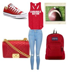 """Football Game day School Wear {♡Red♡}"" by kennedy-keith on Polyvore featuring Chanel, New Look, Converse and JanSport"