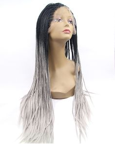 2017 New Grey Ombre Braiding Synthetic Lace Front Wig 180% Density Long Hand-weaved Black Grey Ombre Braiding Wig [XMKY_WIG9161] - Fiber Synthetic Hair Hair Type Lace Front Wig Weight About 200g Hair Color #1B/Grey Black Grey Ombre Texture Straight/Braiding Length Long Density 220% Cap Size Adjustable Cap Usage High Heat Resistant Fiber, please avoid dyeing or washing in hot water. For optimum results, we recommend you keep your heating tools at a setting between 100-110. Do not ex...