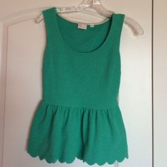 Anthropologie green peplum blouse Cute peplum top with scalloped edges Anthropologie Tops
