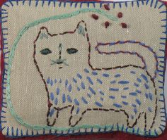 ♒ Enchanting Embroidery ♒  primative embroidered cat - Ann Willey