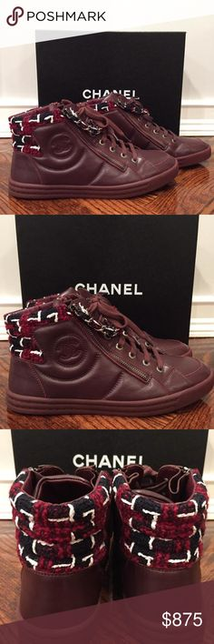 Chanel 15K Burgundy Leather White Tweed High Top Chanel 15K Burgundy Leather White Tweed High Top Trainer Sneaker 39 $1025  ********** Chanel **********  Brand: Chanel Size: 39 (know your Chanel size)  Name: Trainer Color: Burgundy Style: 15K Style#: G31316Y50112 Material: Lambskin Leather Retail: $1025+tax Burgundy dark red lambskin leather sneaker White navy tweed top with chain double zipper High top style Lace up tie front Zipper double side Chanel CC side logo Fully sold out everywhere…