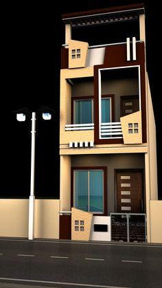 Home Window Grill Design, House Balcony Design, House Outside Design, Duplex House Design, House Front Design, Front Elevation Designs, House Elevation, Narrow Lot House Plans, Tiny House Plans