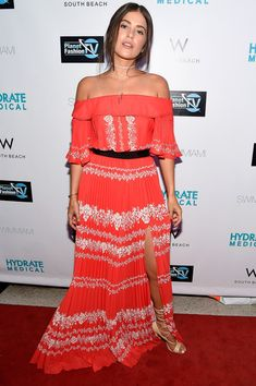 Paola Alberdi Off-the-Shoulder Dress - Paola Alberdi attended the SwimMiami opening party looking boho in a red and white off-the-shoulder maxi dress.