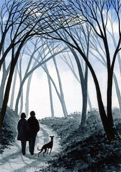 - Paintings Prints Crafts in Watercolour Acrylic Ink Ceramic Watercolor Trees, Watercolor And Ink, Greyhound Art, Walk In The Woods, Gothic Art, Whippet, Walking, Greyhounds, Naive
