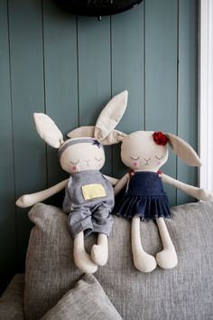 Handmade Bunny Cloth Dolls by Peanut And Elliott