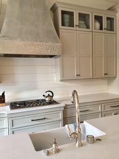 Anna Versaci Design Custom Nickel Hood Revere Pewter Kitchen Cabinetry Benjamin Moore White Dove Shiplap Backsplash