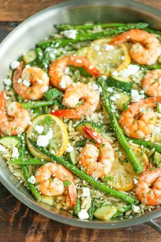 Shrimp, asparagus and zucchini orzo salad pasta салаты, еда, Orzo Salad Recipes, Salad Recipes For Dinner, Dinner Salads, Fish Dinner, Seafood Dishes, Seafood Recipes, Cooking Recipes, Healthy Recipes, Healthy Meals