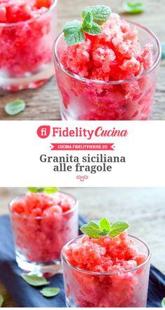 Granita siciliana alle fragole Yogurt Smoothies, Cake Cookies, Biscotti, Low Carb, Ice Cream, Granite, Fruit, Vegetables, Eat