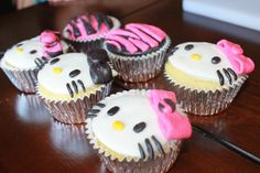 Hello Kitty Zebra Cupcake Toppers Pink & by AlwaysForeverSweets, $15.00