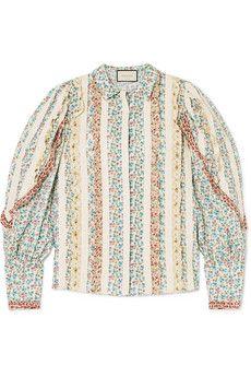 Oscar de la Renta - Pussy-bow cape-effect crepe de chine blouse Gucci Shirts, Cotton Maxi Skirts, Gucci Shoulder Bag, Bow, Bustier Top, Satin, Matching Shirts, High Rise Jeans, Poplin