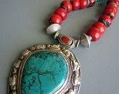 Gorgeous Turquoise Coral and Silver Statement Necklace from HogWildJewelry on Etsy $235.00