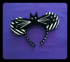 Nightmare Before Christmas Jack Skellington Minnie Mouse Ears Headband with Bat Bow By Le Petite Zombie