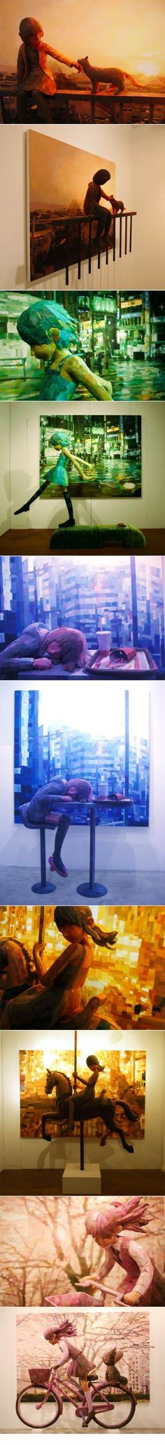 Shintaro Ohata combines sculpture and canvas in his art. <3