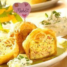 Herzhafte  Muffins mit Blätterteig