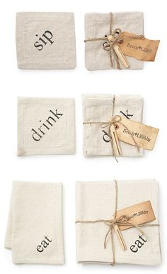 """HACKED :: Set of 6 Napkins, Beige :: $49-69 
