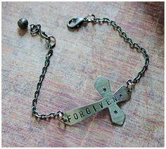Stamped Bracelet  Stamped Jewelry  Sideways by AngelaVenArtwork
