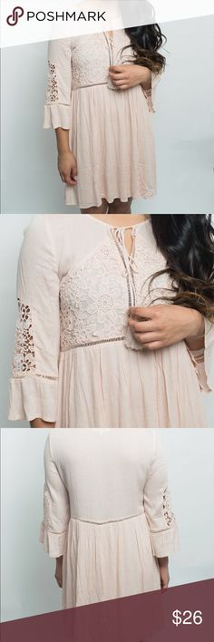 """Lace Embellished Tunic Dress This soft pink dress features an ultra flattering swing style and beautiful Lace top details.     Length S: 34.5"""" M: 35.5"""" L: 36.5.       Lining:100% poly Outer:100% rayon.        This item comes new with tags entro Dresses Mini"""