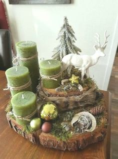 With Tree Trunks And Tree Slices Create The Most Beautiful Decoration For . With Tree Trunks And Tree Slices Create The Most Beautiful Decoration For . Centerpiece Christmas, Xmas Table Decorations, Christmas Candles, Decoration Table, Christmas Crafts, Christmas Ornaments, Christmas Tree, Tree Slices, Wood Slices