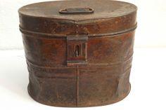 Antique Victorian Metal Hat Storage Box