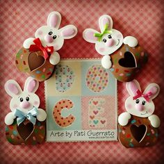 Doce Arte by Pati Guerrato Easter Art, Easter Crafts, Sewing For Kids, Origami, Art Projects, Bunny, Clip Art, Baby Shower, Paper