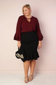c671704cfac Ellie Stretchy Bell Sleeve Tunic with Keyhole - Wine. Mabel s Faves ·  Valentines Day Red Plus size outfits and Accessories