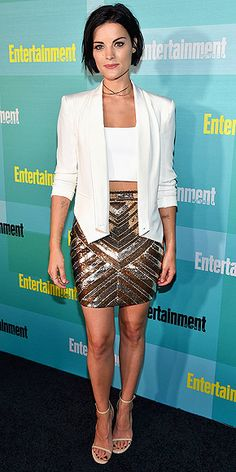 Last Night's Look: Love It or Leave It? Vote Now! | JAMIE ALEXANDER | in a white crop top, gold sequined Elisabetta Franchi mini skirt, white Rebecca Minkoff blazer and thin Marli choker at the Entertainment Weekly celebration at Comic-Con in San Diego.