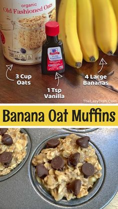 3 Ingredient Healthy Banana Oat Muffins (Kids LOVE These!)