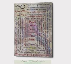 Excited to share the latest addition to my #etsy shop: 40th Birthday Gift, 60 Reasons we love you, Things we love about you, 50th birthday gift for women, 60 birthday gifts for mom, Grandma gifts Grandma Gifts, Sister Gifts, Gifts For Mom, 50th Birthday Gifts For Woman, 40th Birthday, Custom Canvas Prints, Fathers Love, Parent Gifts, Love You