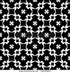 Vector monochrome seamless pattern, simple black & white repeat geometric texture, endless dark mosaic background, retro style. Abstract ornamental backdrop. Design for prints, decor, textile, fabric